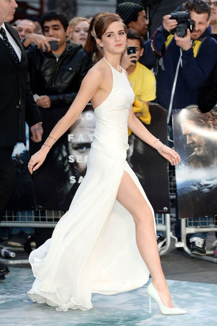 Emma Watson White Round Neck Celebrity Evening Prom Dress London Premiere Noah