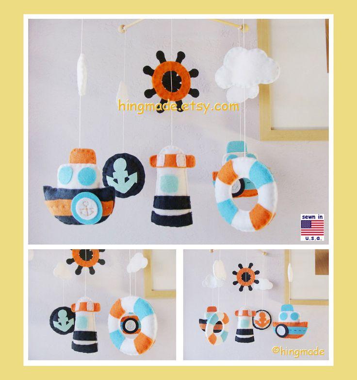 Baby Mobile, Baby Crib Mobile, Nursery Decor, Nautical Mobile, Mariner Mobile, Navy Blue Orange White, Match Bedding Mobile par hingmade sur Etsy https://www.etsy.com/fr/listing/150726331/baby-mobile-baby-crib-mobile-nursery