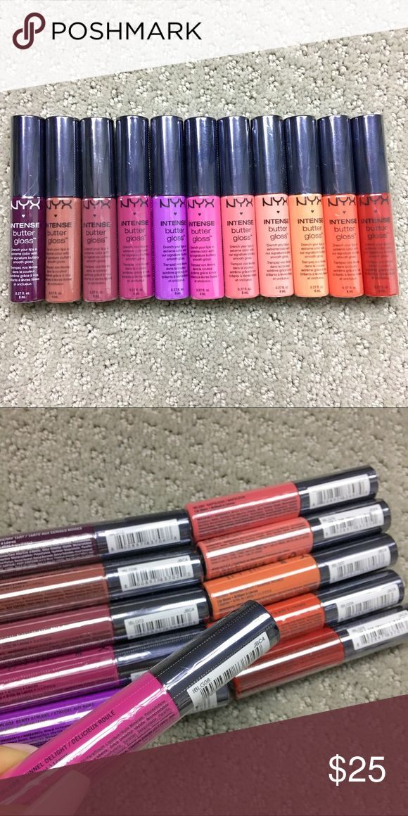 NWT Set of 11 NYX INTENSE BUTTER GLOSSES NWT Set of 11 NYX INTENSE BUTTER GLOSSES.  Brand new with plastic wrapping intact. Sold as a set. VERY PIGMENTED. These retail for $6.49 each, over $70 value! No trades.  Colors: Black Cherry Tart Chocolate Crepe Toasted Marshmallow Spice Cake Funnel Delight Berry Strudel Napoleon Sorbet Banana Split Orangesicle Apple Crisp NYX Cosmetics Makeup Lipstick