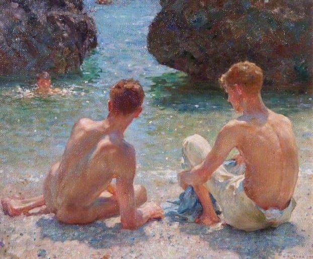 Henry Scott Tuke The Critics 1927 Courtesy of Leamington Spa Art Gallery & Museum (Warwick District Council) / #QueerBritishArt