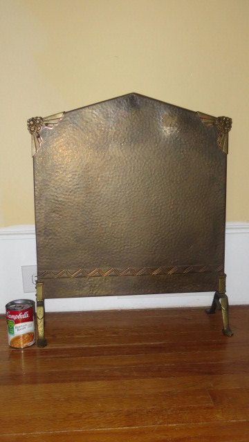 Hammered Fireplace Doors : Vintage art deco arts crafts hammered copper small