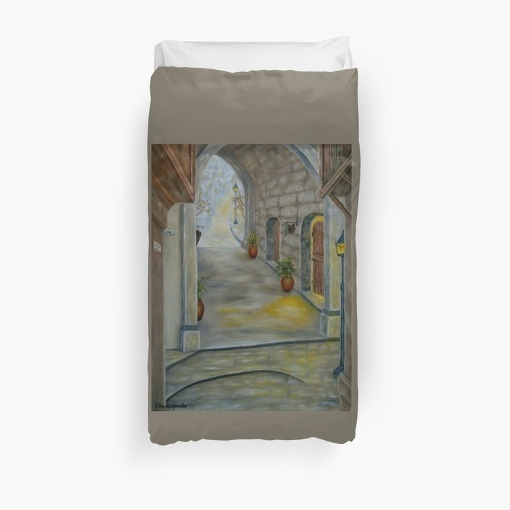 Duvet Cover, bed decor, for sale, home,accessories,bedroom,decor,cool,unique,fancy,artistic,trendy,unusual,awesome,beautiful,modern,fashionable,design,items,products,ideas,brown, earthly colors, medieval, town, buildings, redbubble