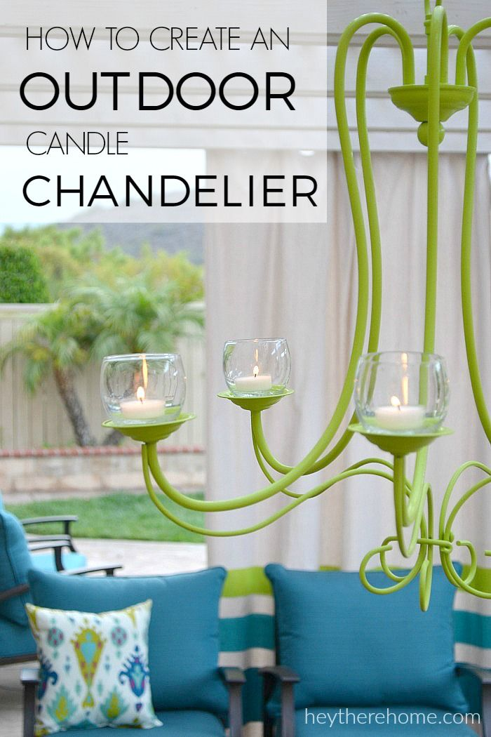 My outdoor living space is feeling more complete with this DIY outdoor chandelier that gives off beautiful candle light. Such a great upcycle!