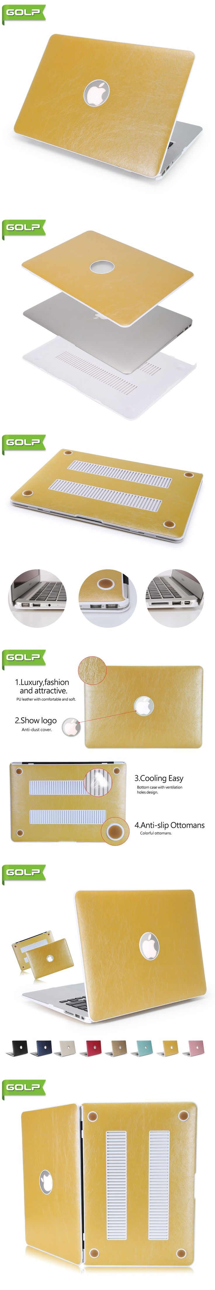 """Cover & Case for MacBook Air 13"""", GOLP Durable Luxury PU Leather Cover Cooling Free Anti Slip PC Laptop Case for MacBook Air 13"""""""