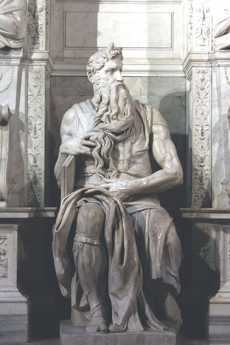 Moses (c. 1513–1515) is a sculpture by the Italian High Renaissance artist Michelangelo Buonarroti, housed in the church of San Pietro in Vincoli in Rome. Commissioned in 1505 by Pope Julius II for his tomb, it depicts the Biblical figure Moses with horns on his head, based on a description in the Vulgate, the Latin translation of the Bible used at that time.