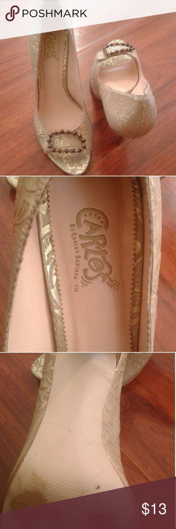 Carlos Santana heels gold color size 8.5 Carlos Santana heels gold color size 8.5, romantic, leather upper, balance man made, made in brazil Carlos Santana Shoes Heels