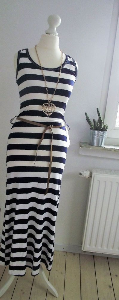 NEU Maxi-Kleid MARINE blau-weiß ITALY gestreift MARITIM 36 S