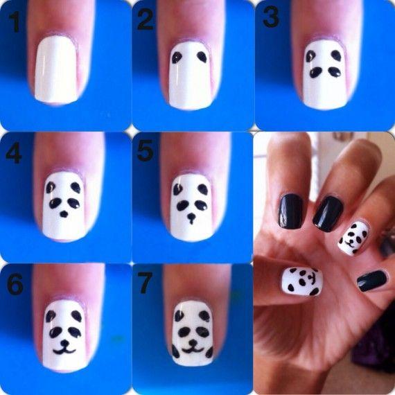 Pandas adorables paso a paso | Decoración de Uñas - Manicura y Nail Art