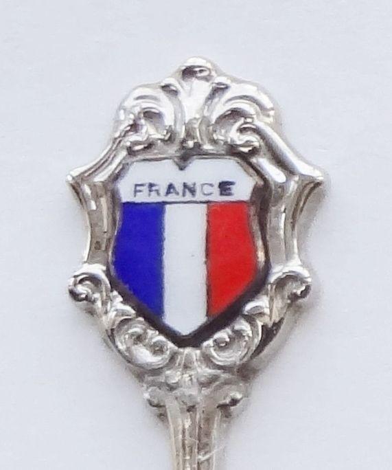 Collector Souvenir Spoon France Flag Porcelain Enamel Emblem