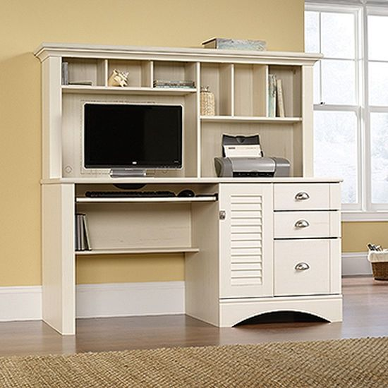 "62"" Transitional Computer Desk with Hutch in Antiqued White"