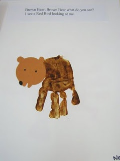 Make a Brown bear for kids to take home. using this cute bears head,a nd some brown paint. great for sequencing and talking about colours and body parts.