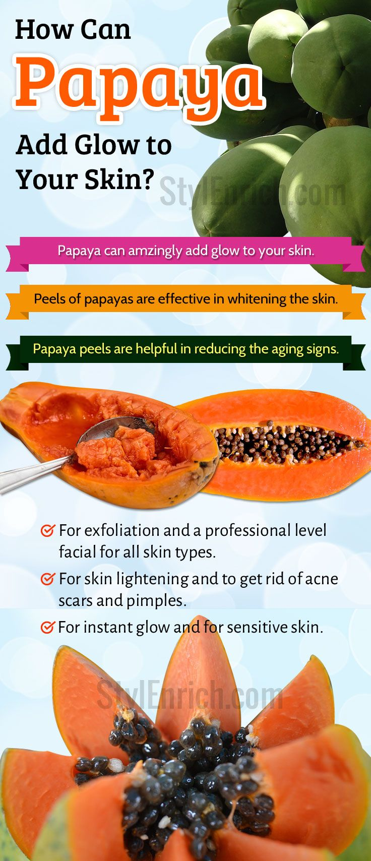 #Papaya can be extremely good #DIYSkinCare treatment when you desire for a glowing skin. Not only the fruit, papaya peel, raw papaya and even seed can also help in achieving beautiful skin. We can use it without causing any adverse side effects. Read to know more about How Can Papaya Add Glow to Your Skin.