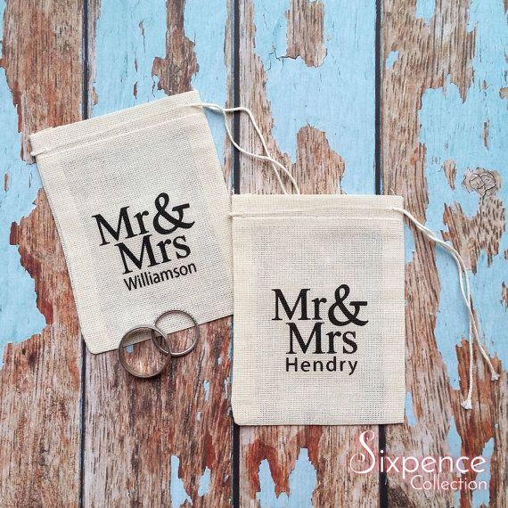 Wedding ring bag with personalised last name. Ring pillow