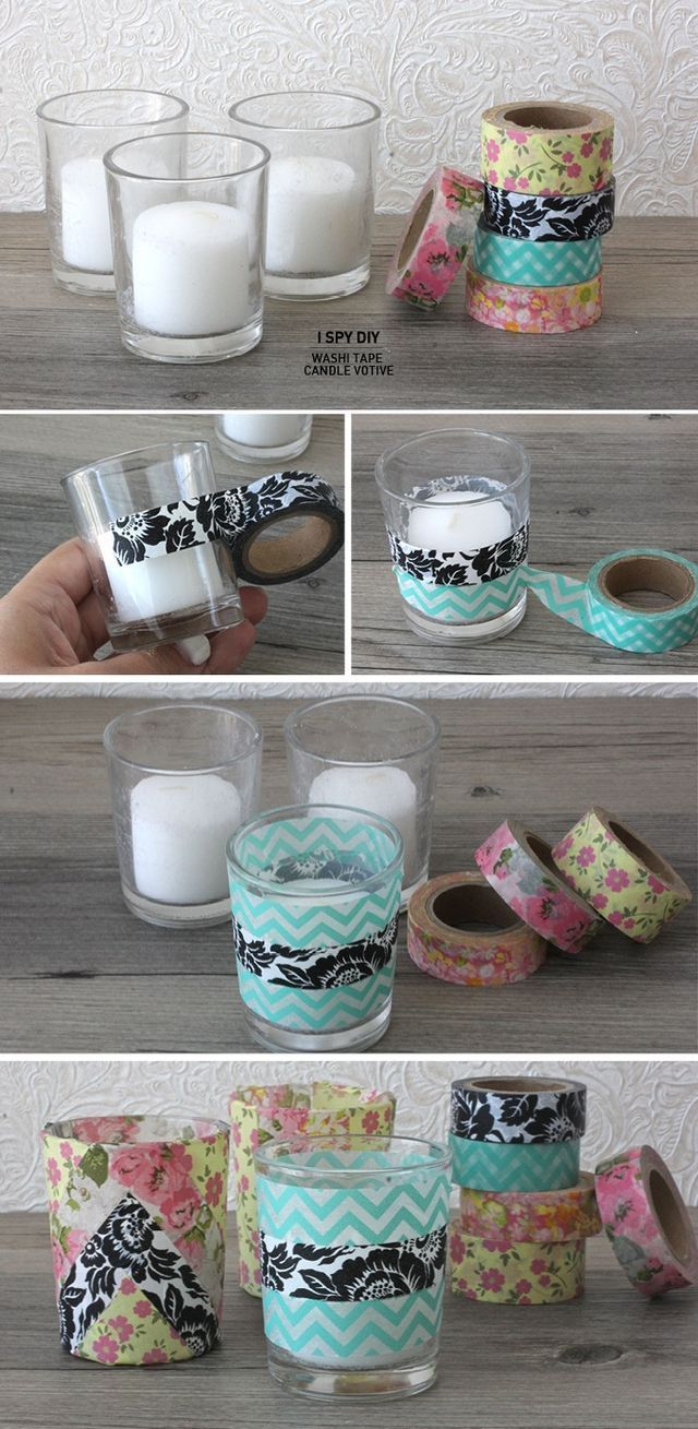 Decorated candle holder with printed tape or ribbon. This would be so easy to do with something plain from the dollar store, and just decorate it. Super easy and cheap! #crafts , DIY , printed, design, candle, vase, project, simple, easy, gifts: