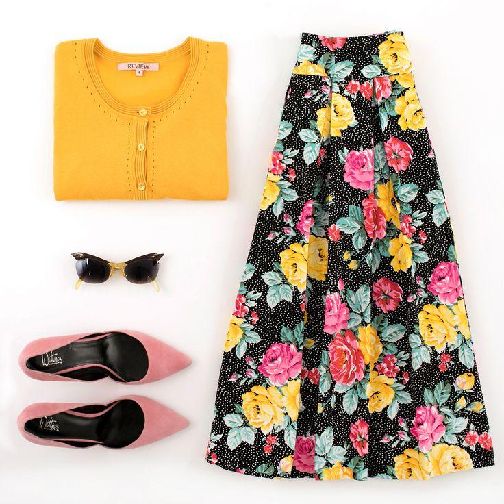 Maggie LongSleeve Cardi | Garden Soiree Skirt | Flatlay