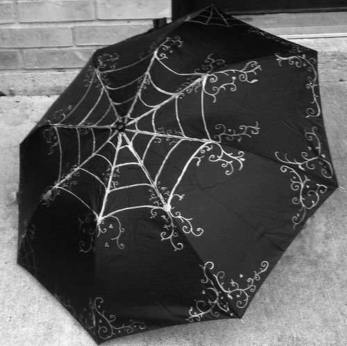 "spookyloop: ""  Gothic Neo Victorian Style Spider Web Umbrella by CyberFreakedd "" Totally going to buy myself a black umbrella and some permanent silver pen, and jazz it up like this!"