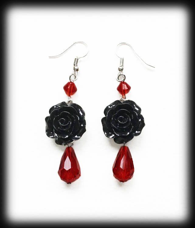 Gothic Cross Choker Necklace Black Cross Red Rose Handmade Alternative Jewelry Black Braid Victorian Choker Romantic Valentine Gift