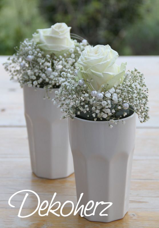 White rose with babys breath in a milk cup -similar places with forget-me-not | Dekoherz: Tischdeko