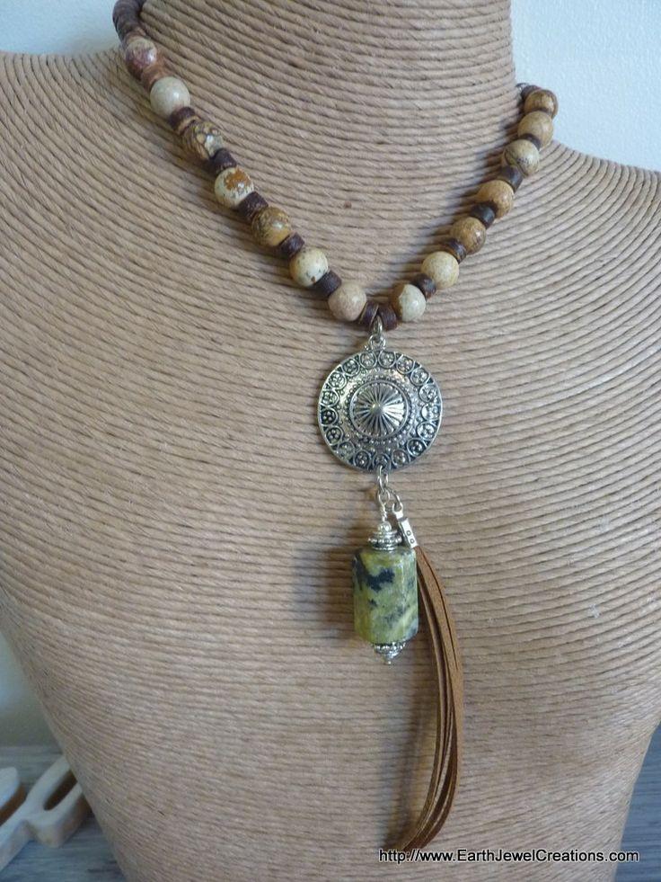 Jasper & Chrysocolla Power Necklace - handmade crystal energy gemstone jewellery Earth Jewel Creations Australia