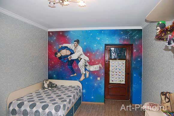 """Роспись на стене в детской комнате для мальчика """"Дзюдо"""" © http://art-plane.ru/rospis-v-detskoj-dzjudo"""