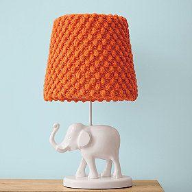 elephant table lamp with orange shade