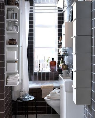 Tiny-Ass Apartment: Topping off the tank: Shelving above the toilet   – Bathroom…  – most beautiful shelves