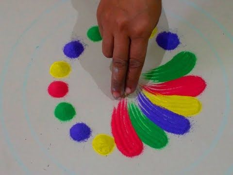 Diwali special easy rangoli with border of multicolored roses | Easy Rangoli designs - YouTube