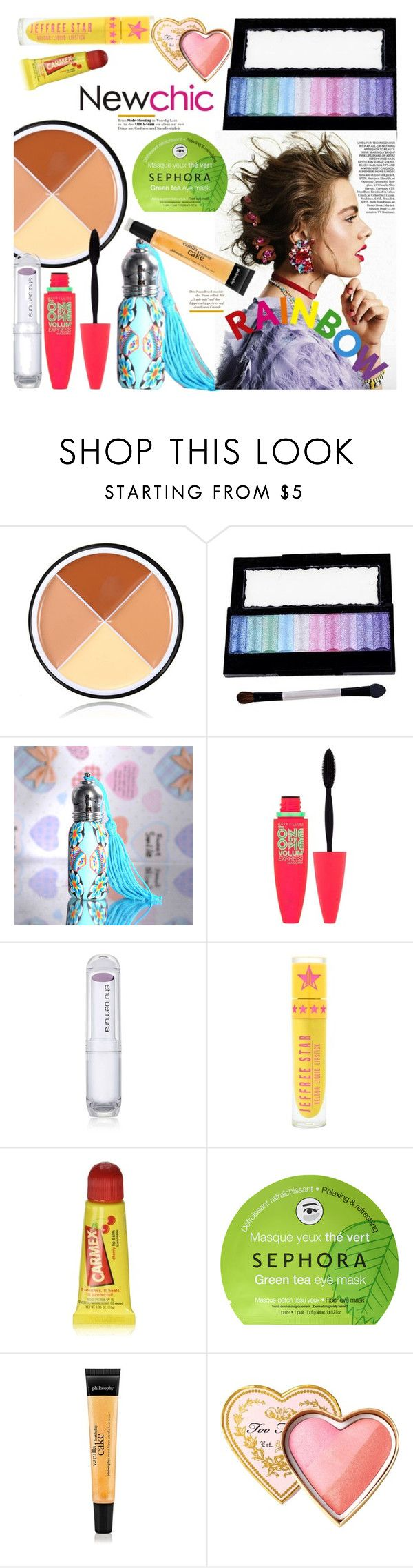 """NewChic Style27: Rainbow Warriors"" by bugatti-veyron ❤ liked on Polyvore featuring beauty, Maybelline, shu uemura, Carmex, Sephora Collection and Too Faced Cosmetics"