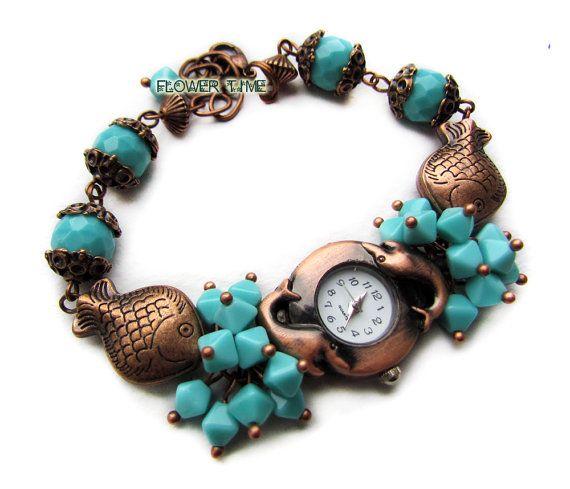 Woman wrist watch Copper quartz watch turquoise by FlowerWatch