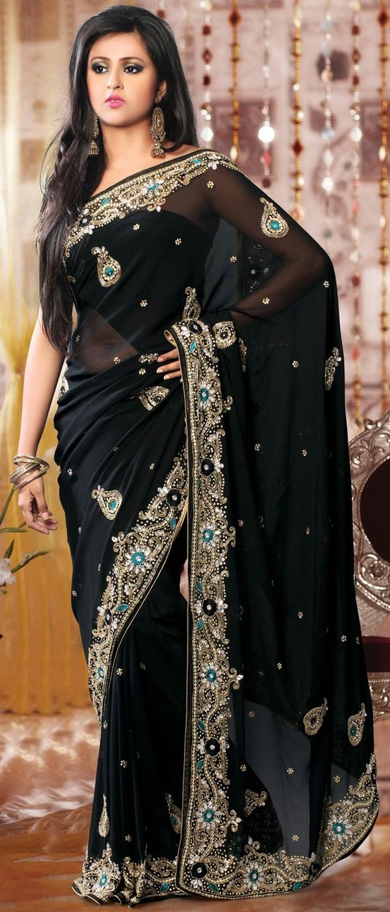 #Black Faux #GeorgetteSaree With Blouse @ $141.37