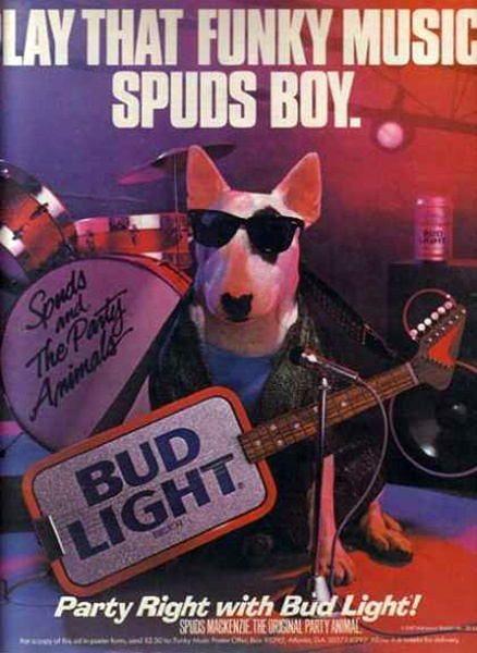 Spuds MacKenzie from the Budweisier commercials    Breed: Bull terrier    Intelligence, trustworthiness, a calm demeanor -- these are all qualities you may look for when adopting a dog. But how about party-heartiness? Because Spuds  McKenzie has that, in addition to what passed for cool clothes and hot ladies in the late '80s. Like the Taco Bell Chihuahua but more so, Spuds was an advertising mascot whose popularity extended beyond the ads themselves.