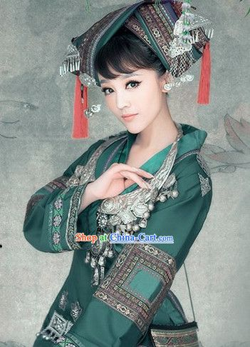 Ancient Chinese Miao Ethnic Clothing and Silver Accessories for Women