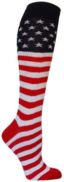Tall and proud! These knee high length socks are all American. Fits a women's shoe size 5-10.