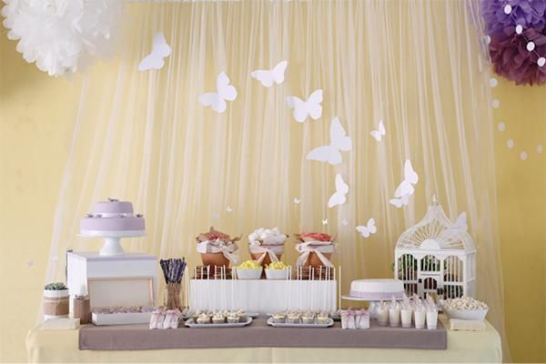 simple, yet cute backdrop -- tulle and cutouts (and colors customizable)