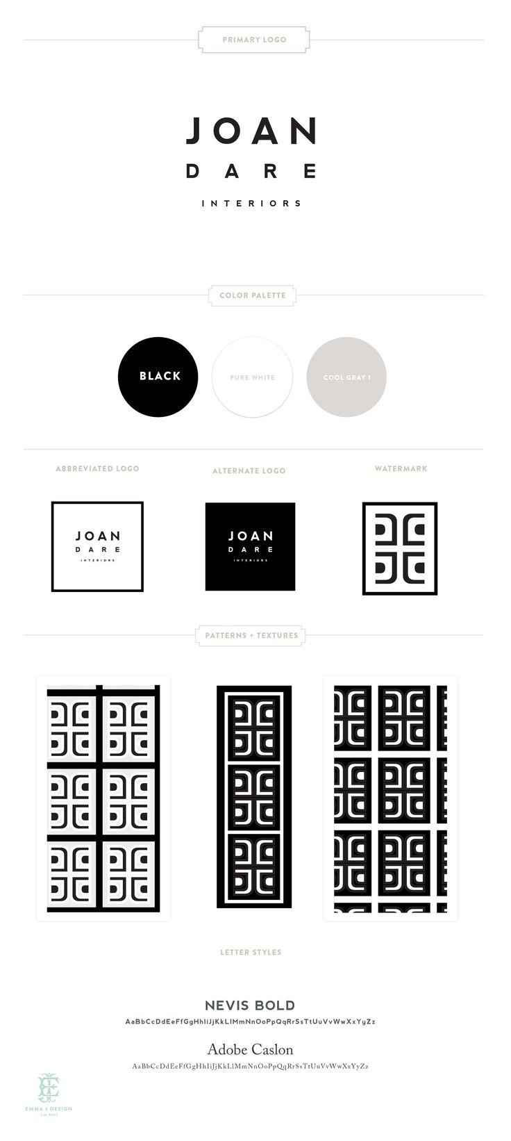 Branding Design for Joan Dare Interiors   Luxury Branding, Logo, Original Pattern Design   Interior Design Brand www.emilymccarthy.com