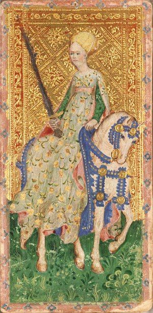 Knight of Swords from the Cary-Yale Visconti deck, 1420-1460. Floral houppelande, lined in pink. Green (brocade?) kirtle. Gorgeous.