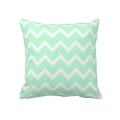 Mint Green Zigzag Stripes. Pillow by Graphics_By_Metarla - Bedroom Redo