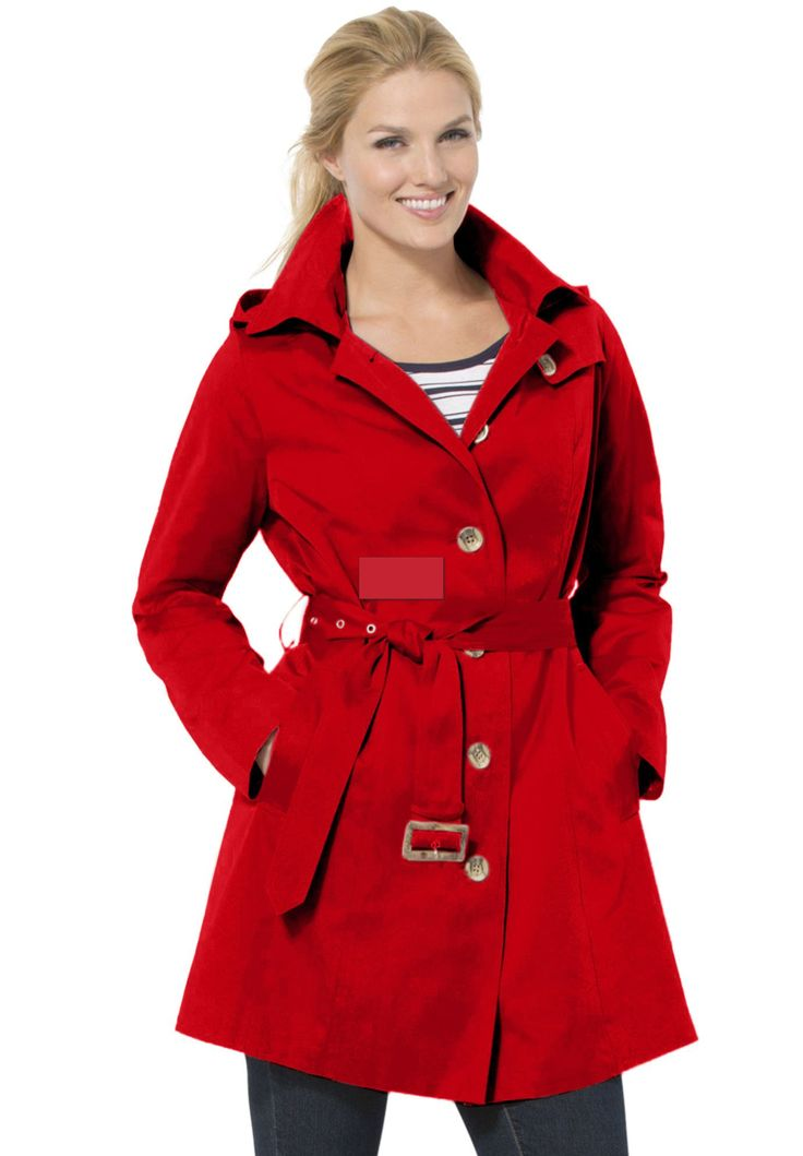 Classic trench raincoat with hood and belt