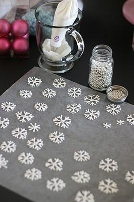 DIY Snowflakes To Float On Top Of Hot Chocolate - Royal Icing 4 Tablespoons Meringue Powder (I use Wilton Brand) 4 cups (about 1 pound) powdered sugar 6 Tablespoons warm water Beat all ingredients until stiff peaks form. *Make sure all bowls and utensils are totally grease-free or your icing will never reach proper consistency.