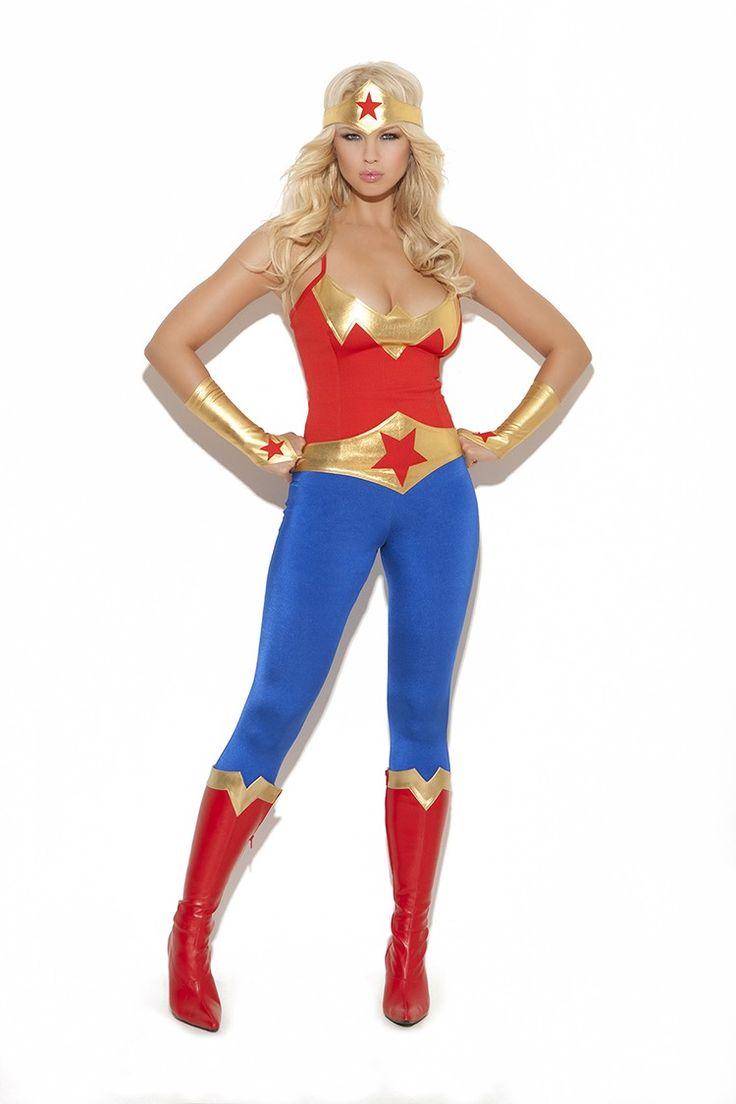 Sexy 5 teiliges Superhelden Damenkostüm