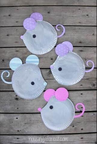 Muizen knutselen van papieren bordjes