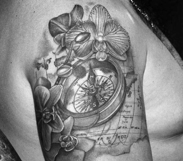 70 Orchid Tattoos For Men Timeless Flower Design Ideas Quarter Sleeve Tattoos Orchid Tattoo Flower Tattoo Sleeve