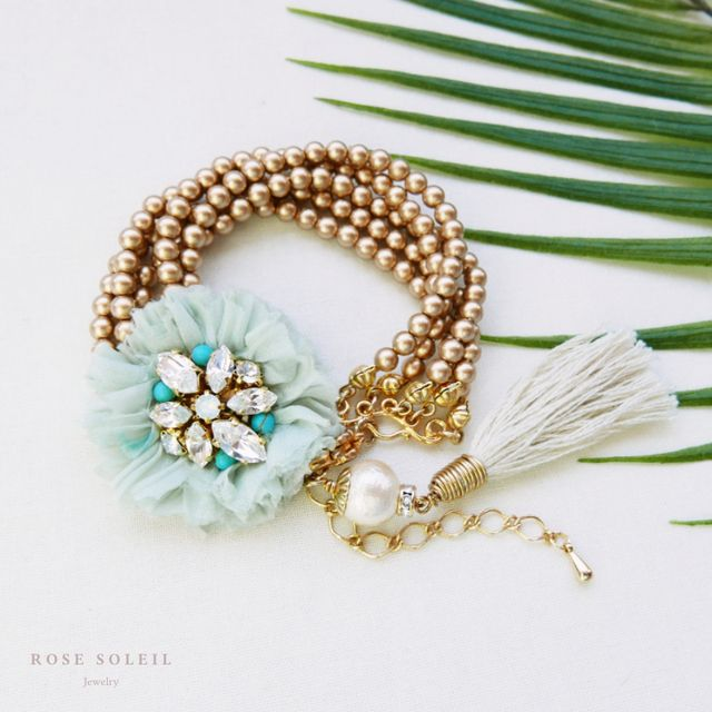 Rose Soleil Jewelry Tropical Sky Collection | ローズソレイユジュエリー ✧ シルクパールブレスレット ✧ トロピカルスカイコレクション