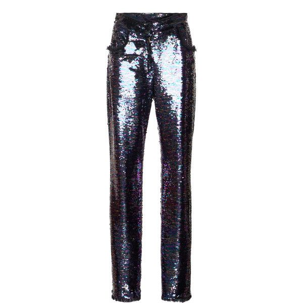 Balmain Paillettes Straight Trousers ($3,795) ❤ liked on Polyvore featuring pants, co-ords, highwaist pants, straight trousers, high rise trousers, sequined pants and high waisted pants