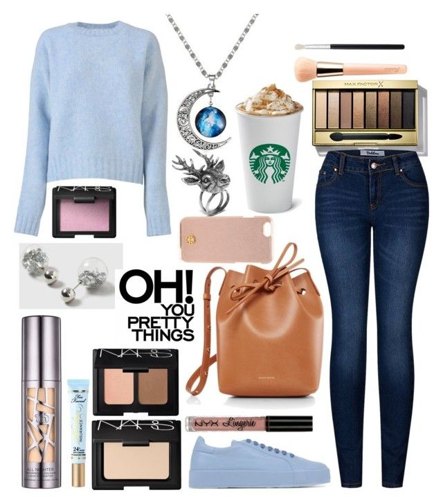 """""""Blue 201"""" by emmatob on Polyvore featuring Max Factor, CÉLINE, 2LUV, Mulberry, Urban Decay, Too Faced Cosmetics, Guerlain, NARS Cosmetics, Morphe and Jil Sander"""
