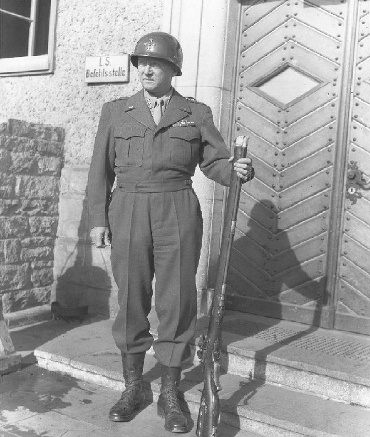 """Image result for General George S. Patton with a """"liberated"""" 18th century German Jaeger rifle ."""