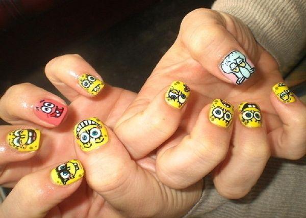 Spongebob Disney Easy Nail Designs for Short Nails | Nails Heaven