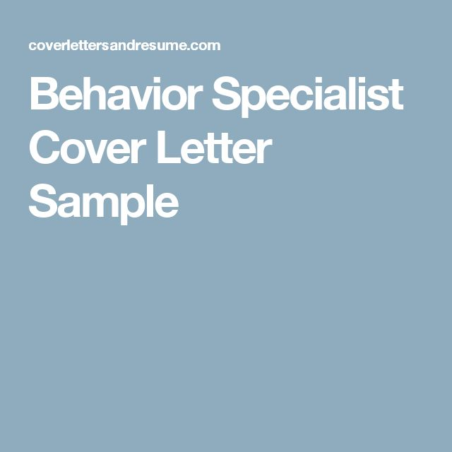 Leading Professional Behavior Specialist Cover Letter Example - Drug information specialist cover letter