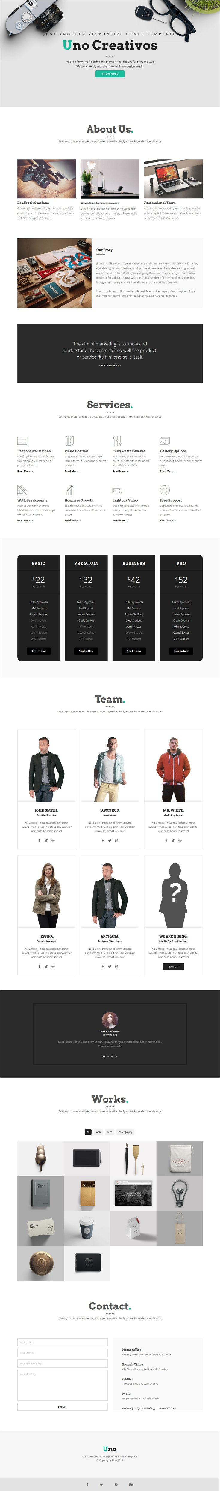 Uno is a modern and creative Bootstrap #HTML template for stunning #startup #agencies or portfolio website with 4 unique homepage layouts download now➩ https://themeforest.net/item/uno-creative-one-page-multi-page-html5-template/18466568?ref=Datasata