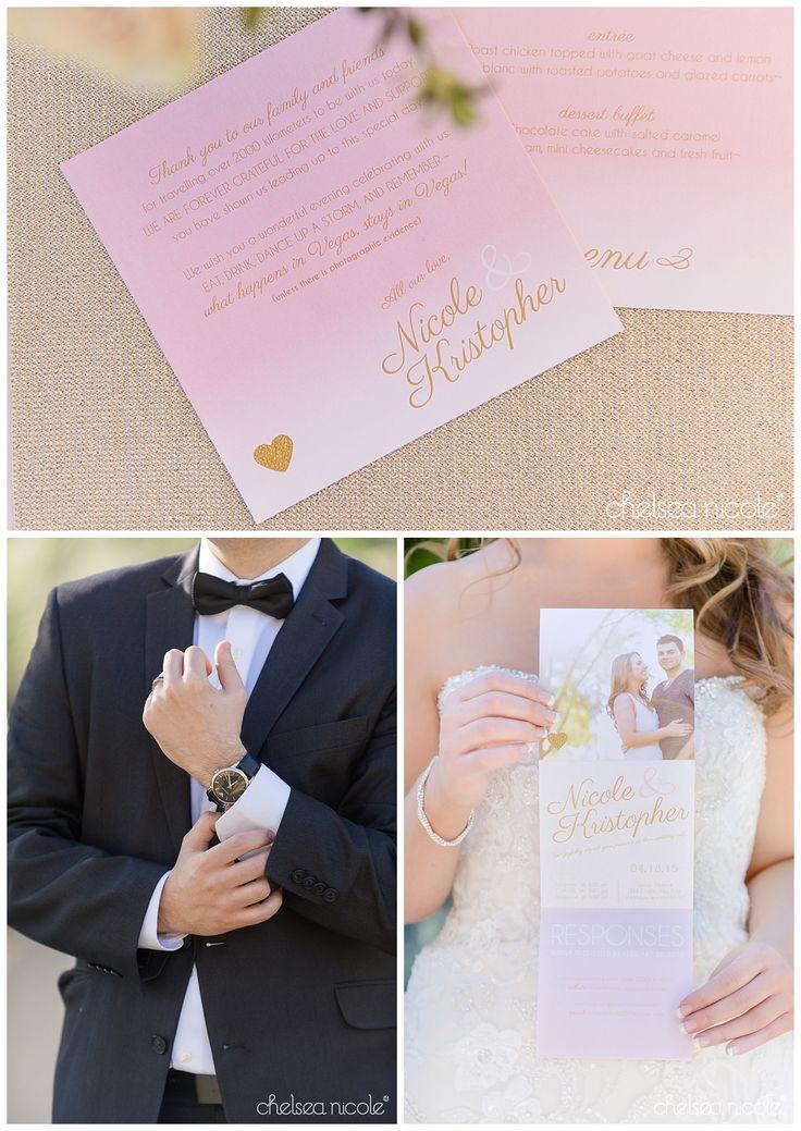 Las Vegas Wedding Planner Springs Preserve Pink Ombre Stationery Black Bow Tie
